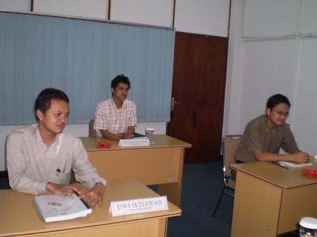 Peserta Training dari PT Multan Kusuma Sakti, dari kiri : Dwi Setiawan, Yusup Adi Pratomo, Virga Widyatama T